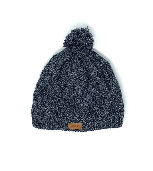 Pom Navy Heavy Knit Hat