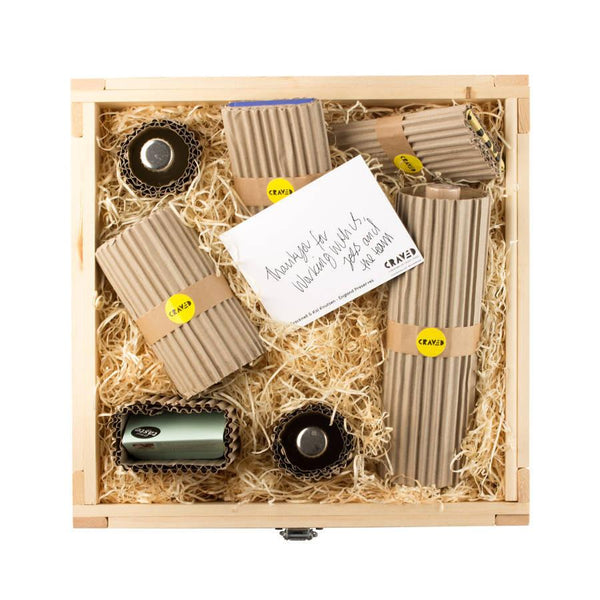 hand wrapped gifts, gift sets, gifts for him, gifts for her, wooden crates, curated by Craved