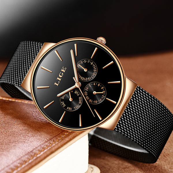 Lige Slim Mesh Stainless Steel Women Watches