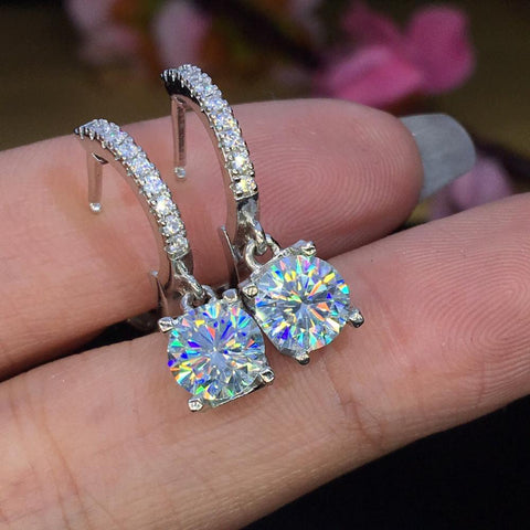 2.00ct Round Diamond Silver Earrings