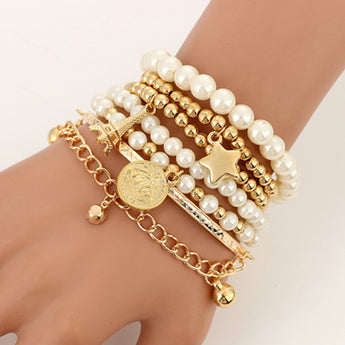 6 Piece Fashion Gold Color Beads Pearl Star Multilayer Bracelets Set