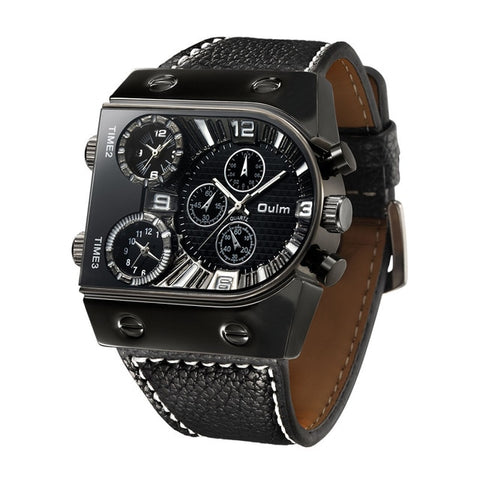 Oulm Multi-Time Zone Military Leather Strap Watches