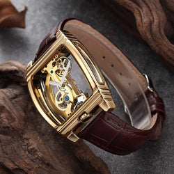 Transparent Skeleton Automatic Self Winding Leather Mechanical Watches