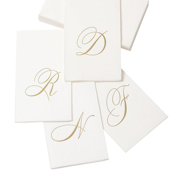 White Pearl & Gold Paper Linen Single Initial Boxed Guest Towel Napkins