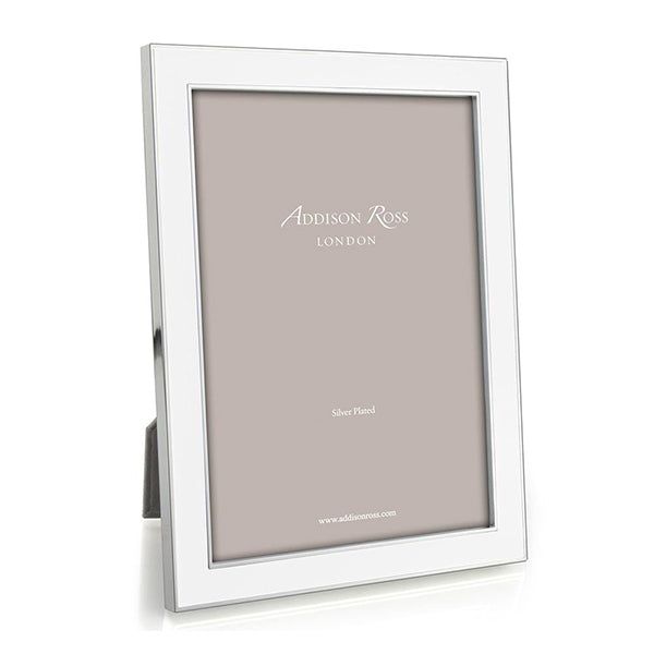 White Enamel & Silver Frame - 3 Sizes Available