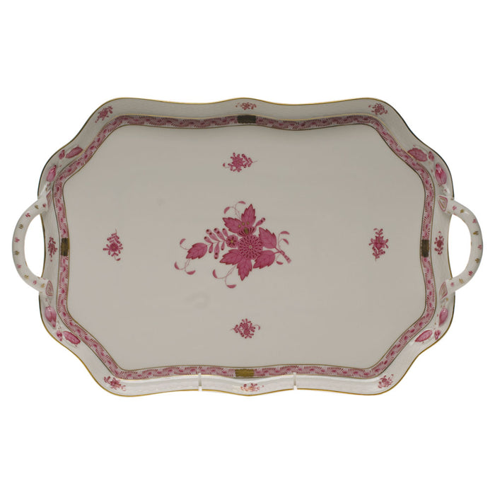 Chinese Bouquet Raspberry Tray with Branch Handles