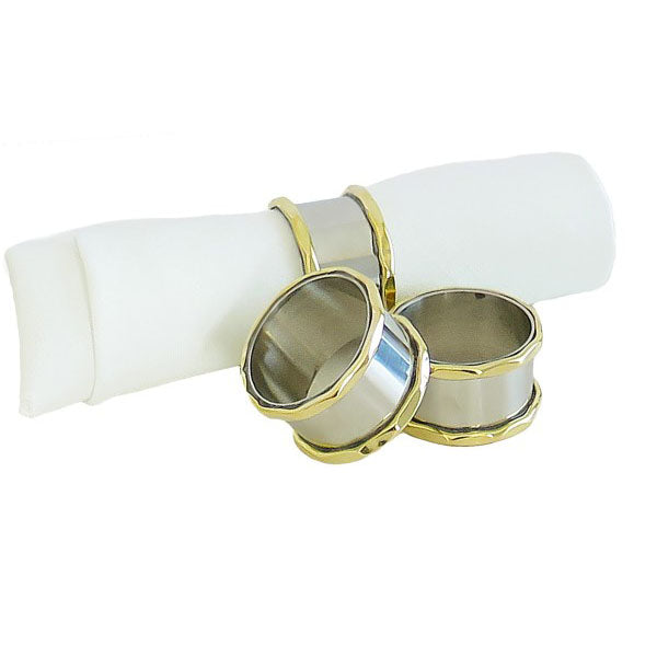 Stainless Steel Napkin Rings with Gold Border