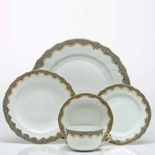 Fish Scale Grey Fine China Collection