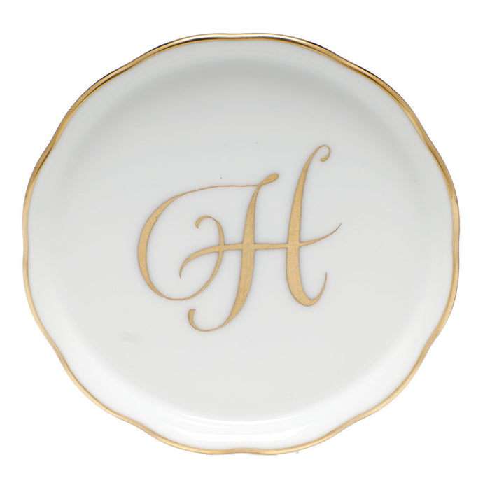 Porcelain Coaster with Gold Monogram