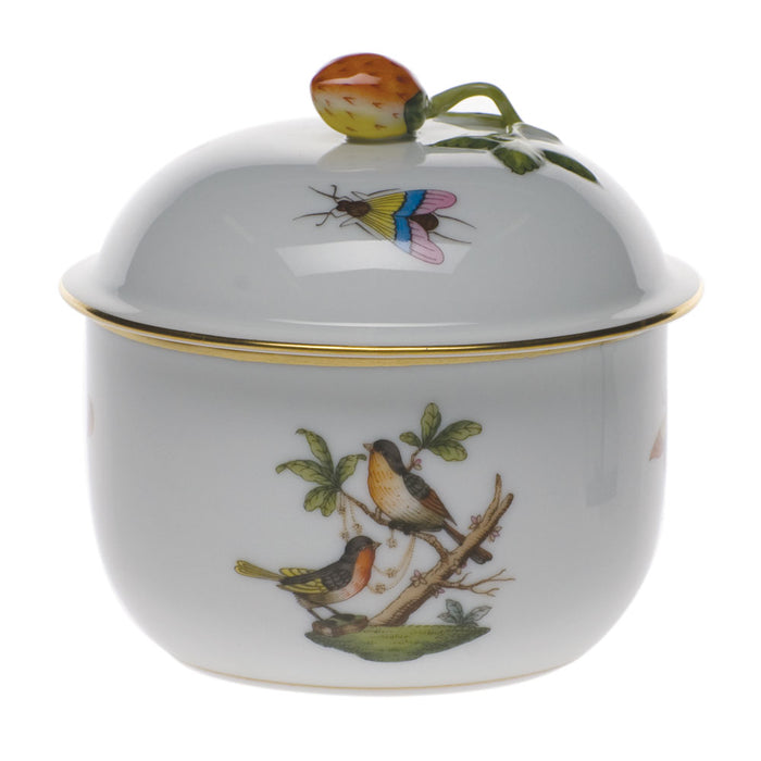 Rothschild Bird Covered Sugar Bowl with Strawberry