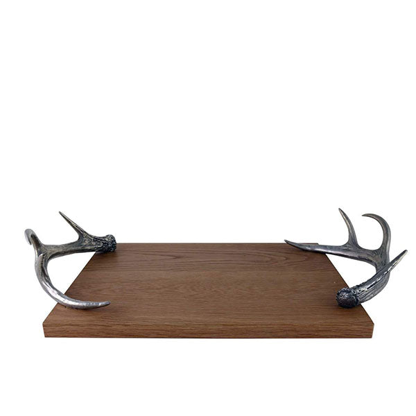 Wooden Cheese Tray with Pewter Antler Handles