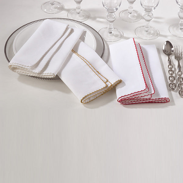 White Whip Stitched Border Napkin - 3 Colors Available