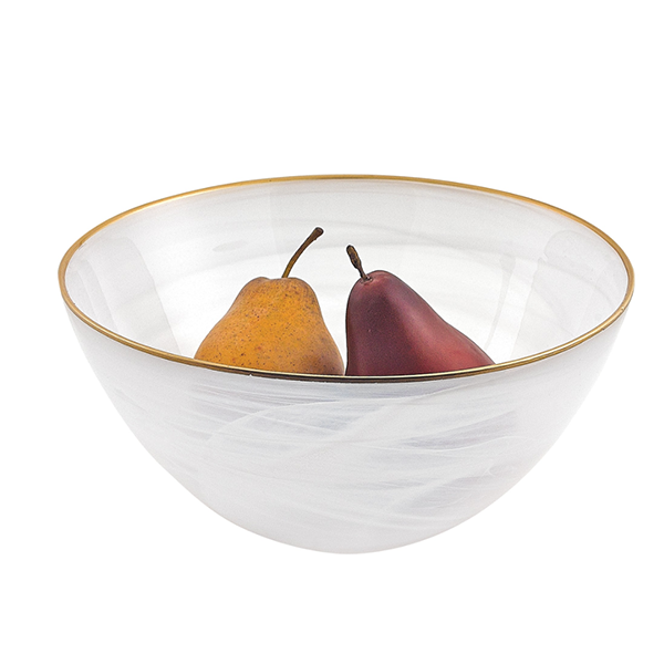 White Alabaster Glass Bowl with Gold Trim - 2 Sizes Available