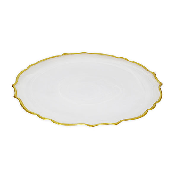 White Alabaster Charger with Gold Trim