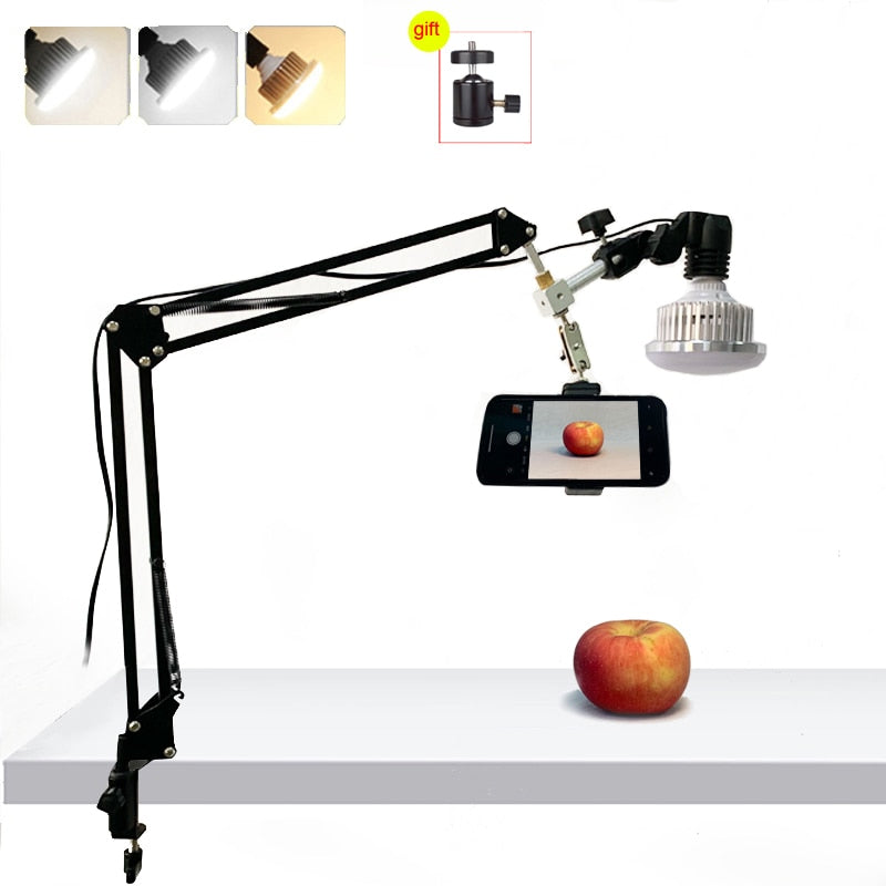 PhoStudio 35W LED Fill Light with Suspension Arm Bracket Stand Kits For Desktop Phone Photo Video Shooting