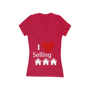 """I Love Selling Homes"" Women's Deep V-Neck Tee"