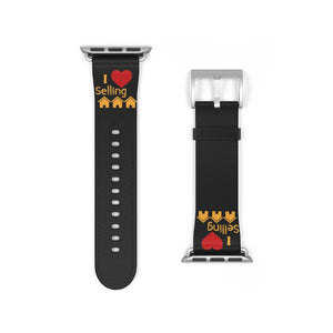 """I Love Selling Homes"" Black Apple Watch Band"