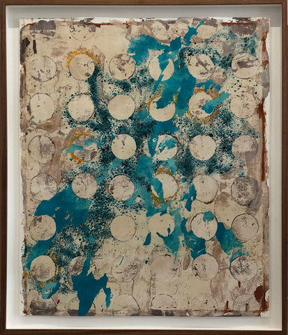 "38 CIRCLES, 30""H x 25""W Clay Monoprint, Wood Frame w/museum glass, 28""W x 33""H, 2019"