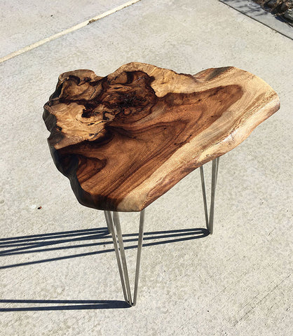 "BIG ISLAND FROM ABOVE, Hawaiian Kou Accent Table, 16""W x 14""D x 23""H, 2019"