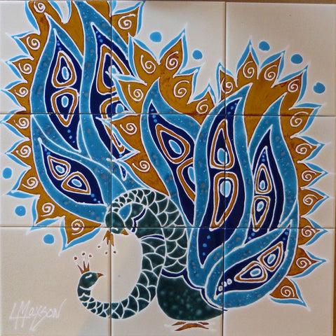 "BIRDS OF A FEATHER, Ceramic Tile Mural, 24""H x 24""W, 2014"