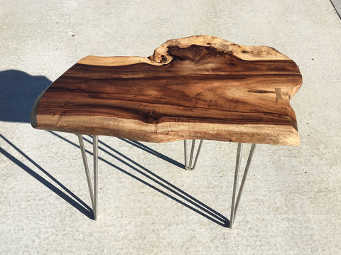 "BREAKING WAVE, Hawaiian Kou Accent Table, 21""W x 12""D x 23""H, 2019"