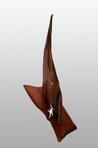 "CHALLENGING THE NORTH FACE, Hawaiian Kiawe Sculpture, 6""W x 18""L x 17""H, 2020"