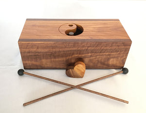 "Zen Drum 29, Canarywood and Walnut Hardwoods, 5""H x 16""W x 7""D, 2019"
