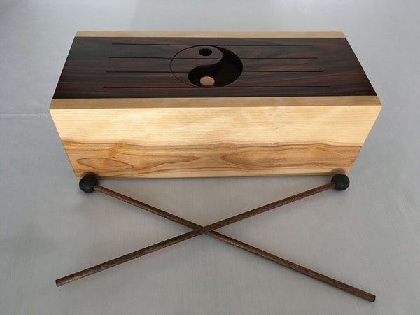 "Zen Drum 32, Pau Ferro and Birch Hardwoods, 5""H x 16""W x 7""D, 2020"