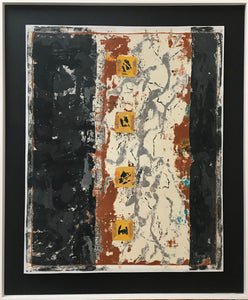 "ELEMENTS, Clay Monoprint, Framed, 30""H x 25""W, 2018"