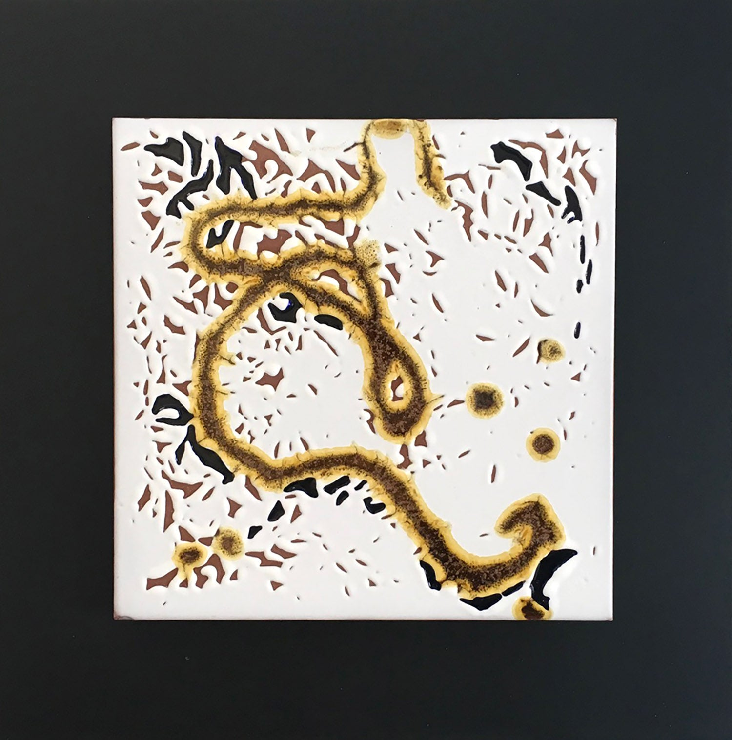 "EMBRACING IMPERFECTION I, Ceramic Tile on Steel, 12""H x 12""W, 2020"