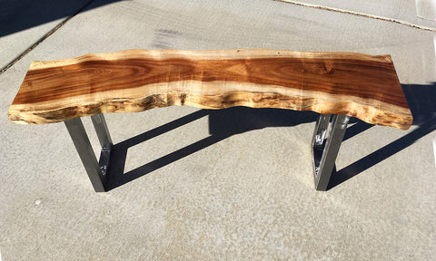 "FLASH OF LIGHT, Hawaiian Koa Bench, 46""W x 11""D x 18""H, 2020"