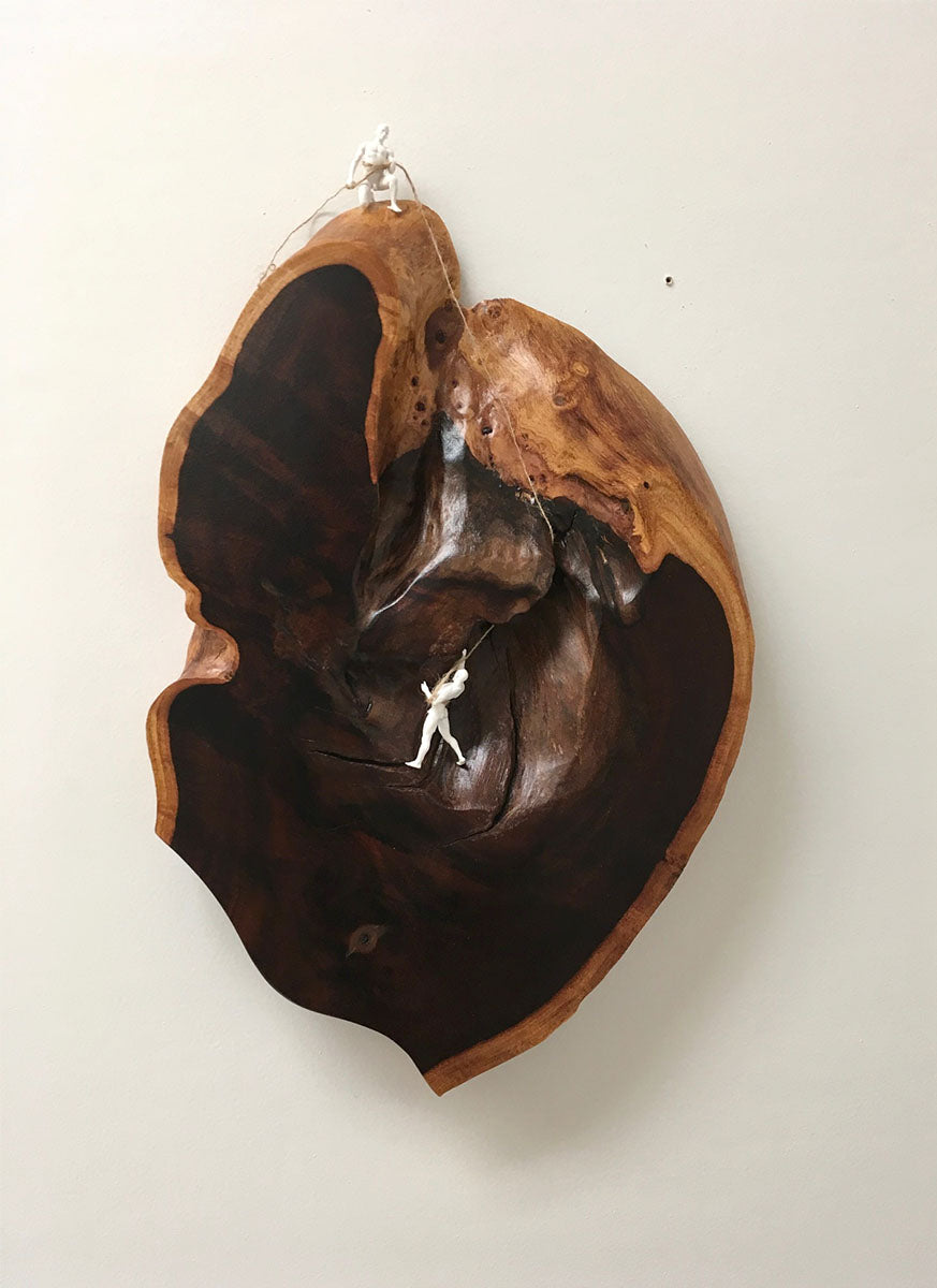 "In the Heart of the Matter, Hawaiian Koa, 17""H x 12""W x 2""D 2019"