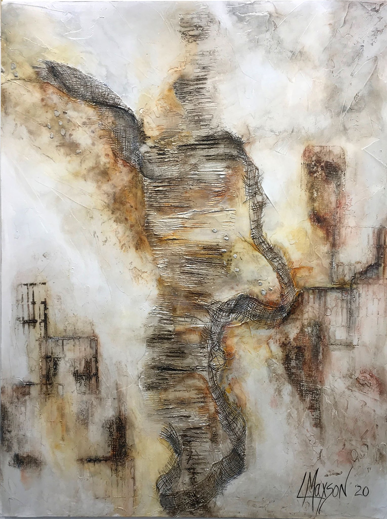 "INTERMINABLE STRUGGLE, Mixed Media on Canvas, 48""H x 36""W, 1.5""D, 2020"