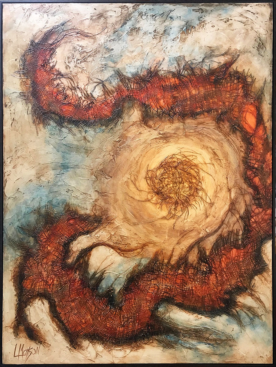 "INTO THE EYE, Mixed Media on Canvas, Framed, 49""H x 37""W, 2018"