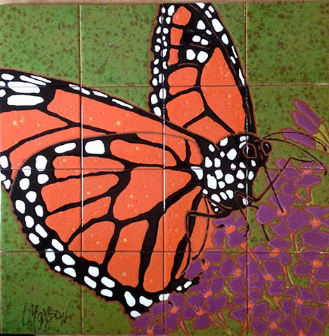 "MONARCH, Ceramic Tile Mural, 24""H x 24""W, 2019"