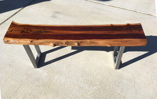 "O SOUL OF MILO, Hawaiian Milo Bench, 52""W x 11""D x 18""H, 2020"