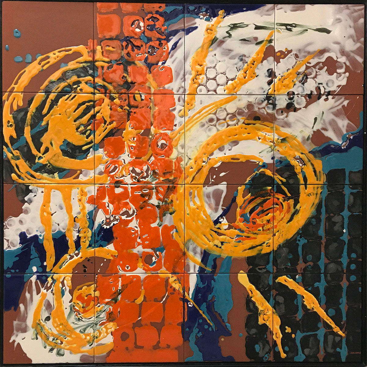 "OFF TRACK, Ceramic Tile Mural, 32""H x 32""W, 2020"