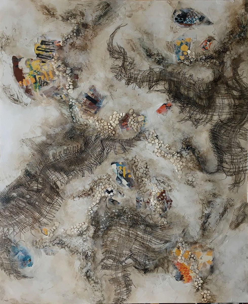 "OPPOSING FORCES, Mixed Media on Canvas, 60""H x 48""W x 1.5""D, 2020"