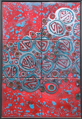"RED ABSTRACT, Ceramic Tile Mural, 24""H x 16""W, 2016"