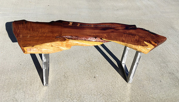 "SECRET BEACH, Hawaiian Kiawe Bench, 51""W x 16""D x 18""H, 2020"