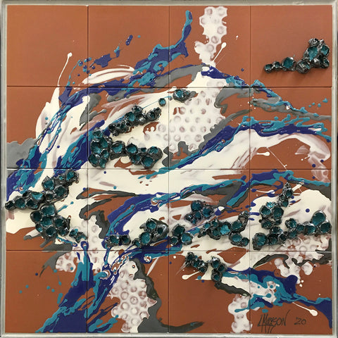 "SPLISH-SPLASH, Ceramic Tile Mural, 32""H x 32""W, 2020"