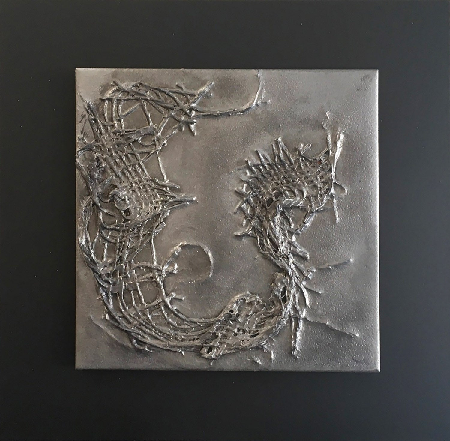 "THE BEAST AWAKENS, Ceramic Tile on Steel, 12""H x 12""W, 2020"
