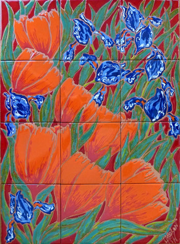"TULIPS AND IRISES, Ceramic Tile Mural, 24""H x 18""W, 2016"