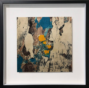 "TUMBLING INTO THE CALM, 12"" x 12"" Clay monoprint, Framed, 19""H x 19""W x 1.5""D, 2019"