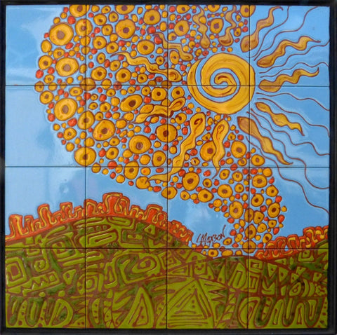 "VALLEY OF SUNSHINE, Ceramic Tile Mural, 24""H x 24""W, 2015"