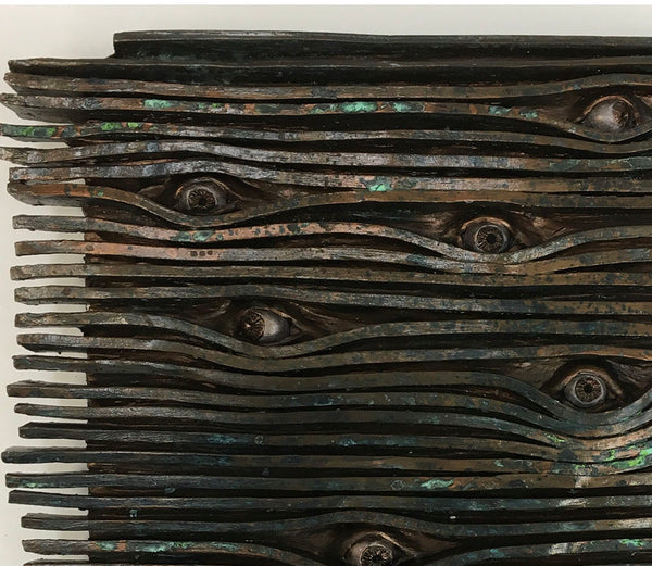 "VENETIAN EYES, Ceramic with Bronze Finish, 19""H x 16.5""W x 2""D, 2020"