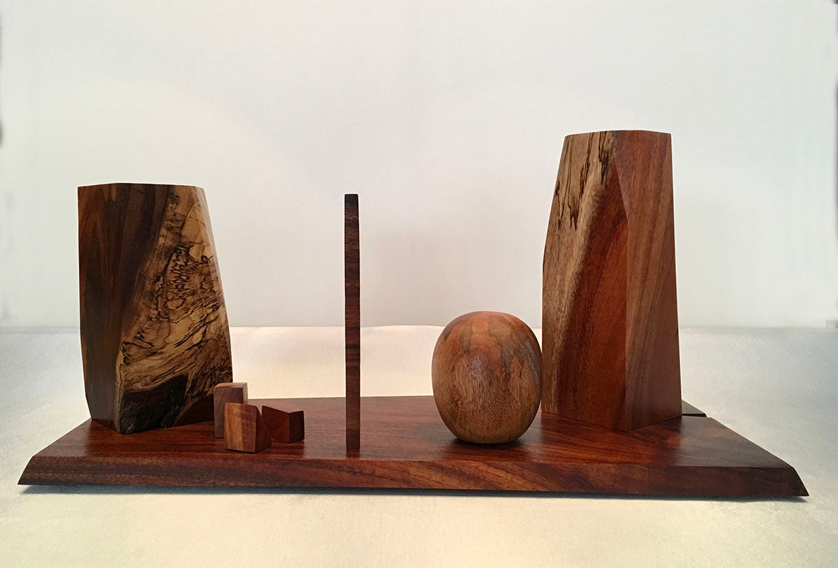 "WOODHENGE, Hawaiian Koa and Mango Sculpture, 11""W x 23""L x 12""H, 2019"
