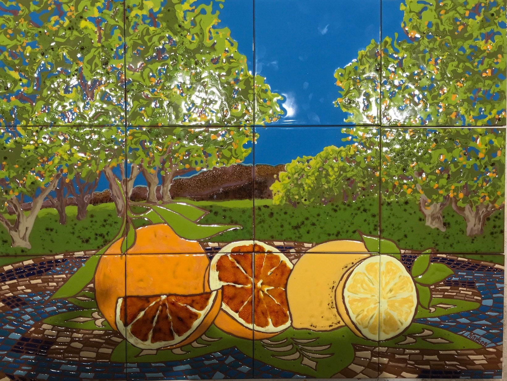 CITRUS ORCHARD, Ceramic Tile Mural, 2019
