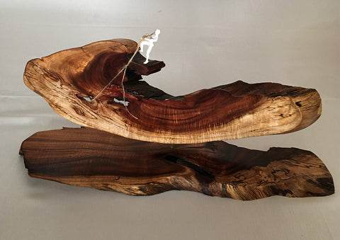 "FISHING FOR MERMAIDS WHILE NAKED NEVER WORKED FOR STANLEY, Hawaiian Koa, 22.5""W x 11""H x 6""D"