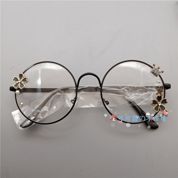 Lolita soft sister flat glasses frame retro metal round Harajuku Japanese girl cherry blossom diffuse decorative glasses